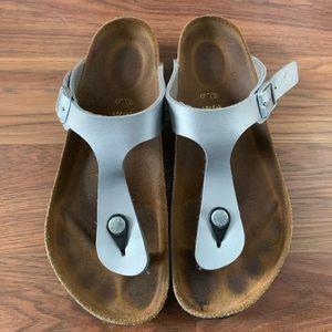 Silver Birkenstock sandals